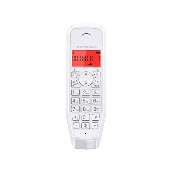 Motorola s1201 rojo teléfono inalámbrico con gran pantalla retroiluminada y manos libres