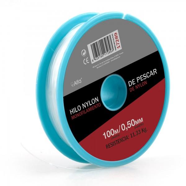 Hilo nylon blanco 0,5 mm. 100 m.