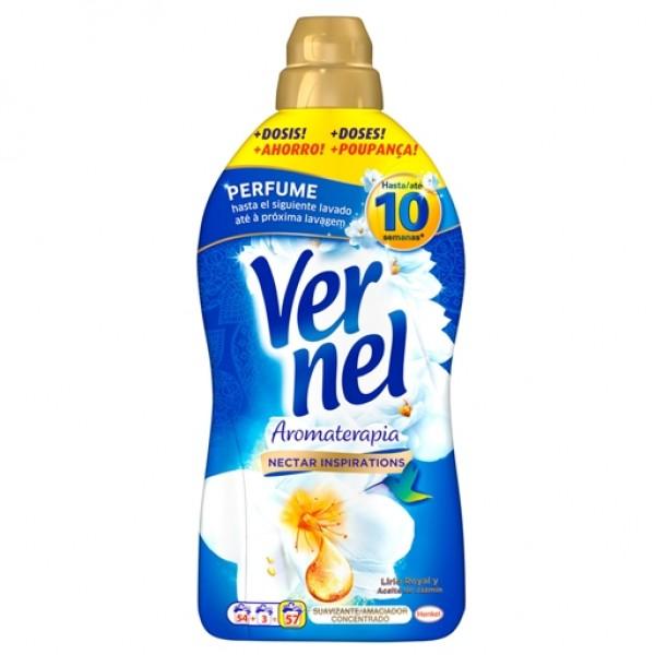 Vernel suavizante aromaterapia  concentrado aceite de Jazmín y Lirio 54+3 dosis