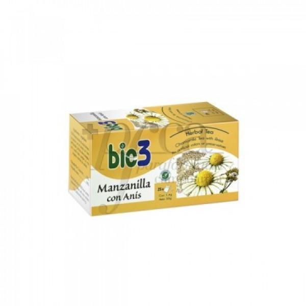 BIO3 MANZANILLA CON ANIS 25 BOLSITAS DE 1,4G