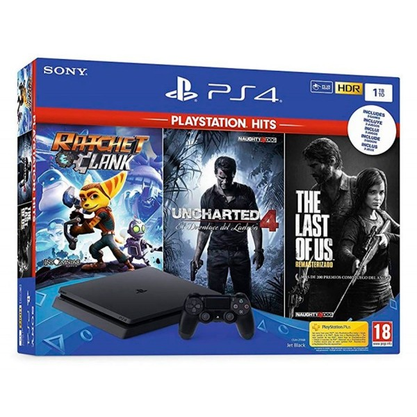 Sony playstation 4 slim 1tb pack the last of us + ratchet and clank + uncharted 4 + mando dualshock 4