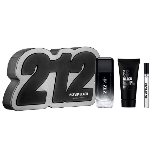 Carolina herrera 212 vip black eau de parfum 100un vaporizador + gel de baño 100ml + miniatura 1u