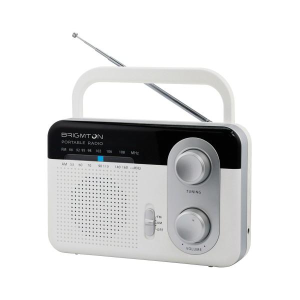 Brigmton bt-250-b blanco radio am/fm analógica portátil a red o pilas