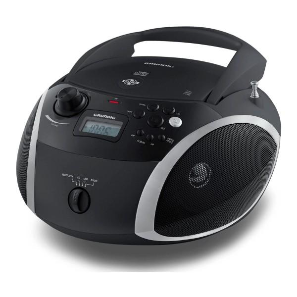 Grundig rcd 1500 bt negro radio fm rds cd 6w rms con usb mp3 aux bt auriculares bateria o enchufe