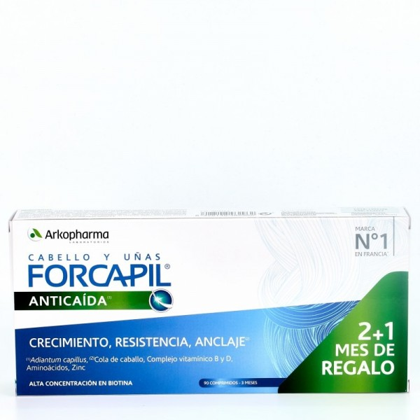 FORCAPIL ANTICAIDA CABELLO Y UÑAS 90 CAPSULAS 2+1