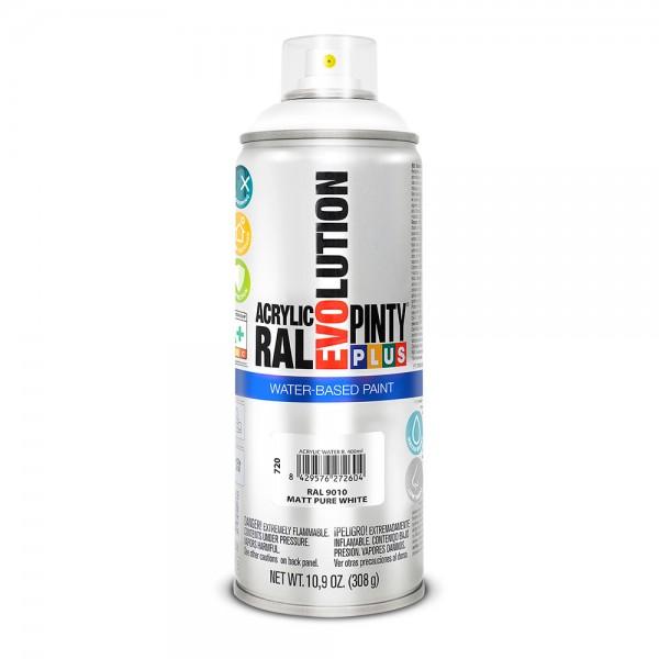 Pintura en spray pintyplus evolution water-based 520cc ral 9010 blanco puro mate